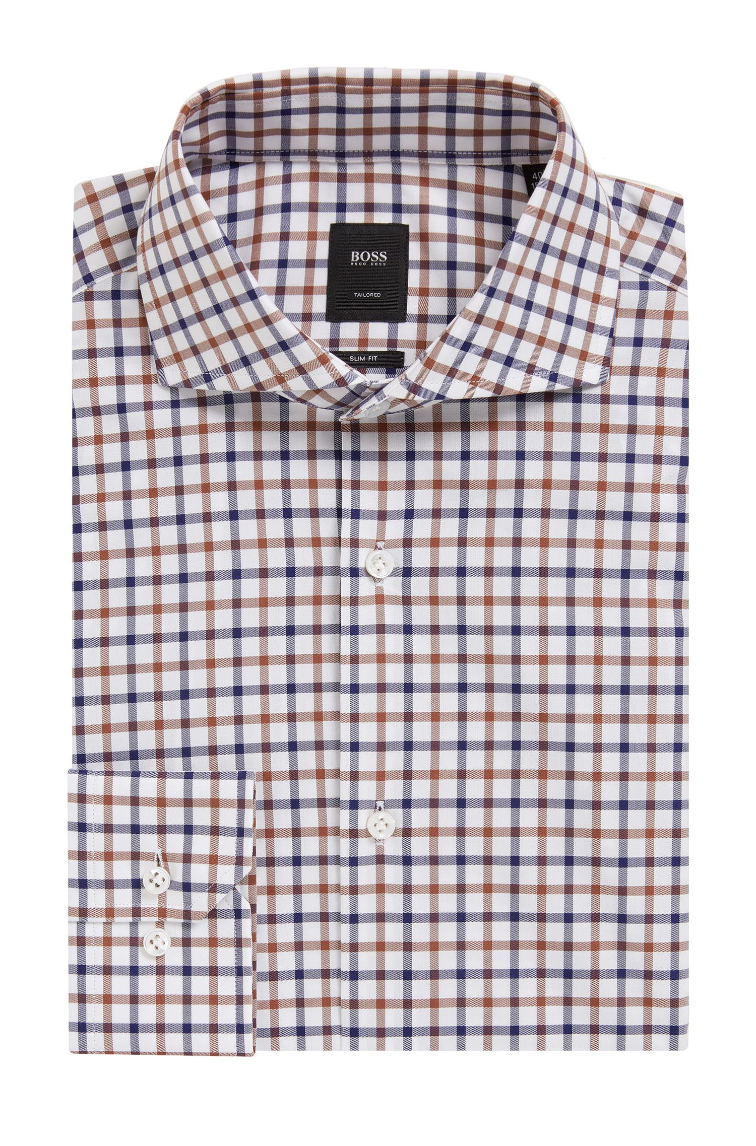 Check Cotton Dress Shirt, Slim Fit   T-Christo