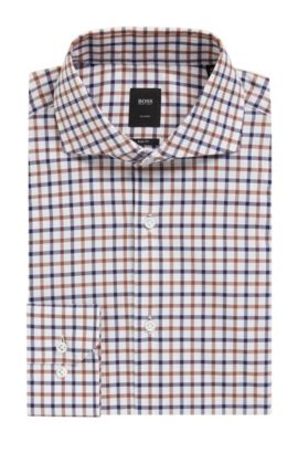 Check Cotton Dress Shirt, Slim Fit | T-Christo, Brown