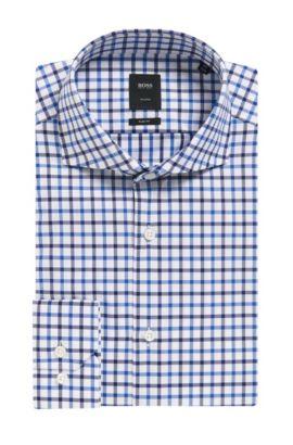 'T-Christo' | Slim Fit, Check Cotton Dress Shirt, Dark Blue