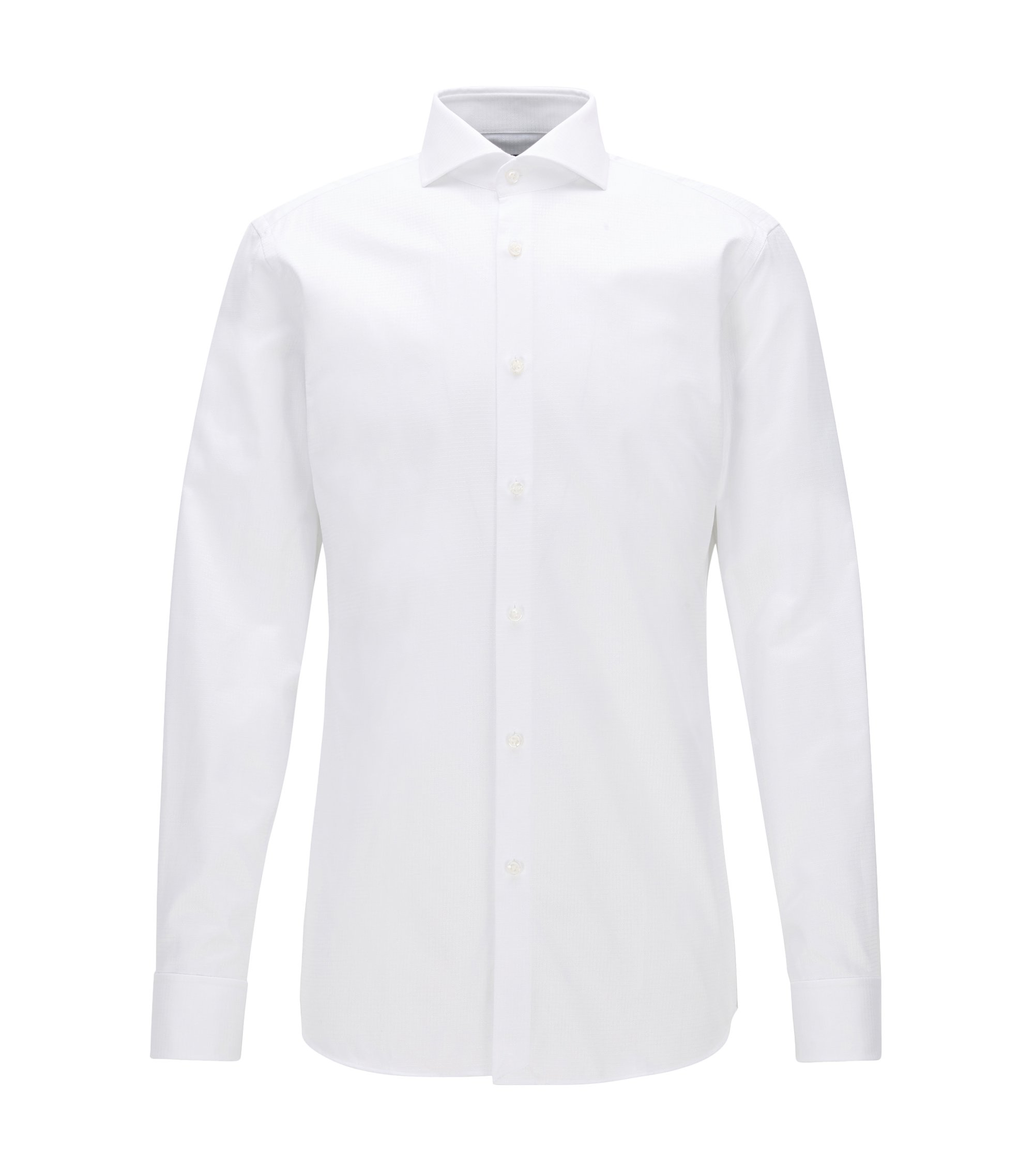 Tonal Check Cotton Dress Shirt, Slim Fit | T-Yacob, Open White