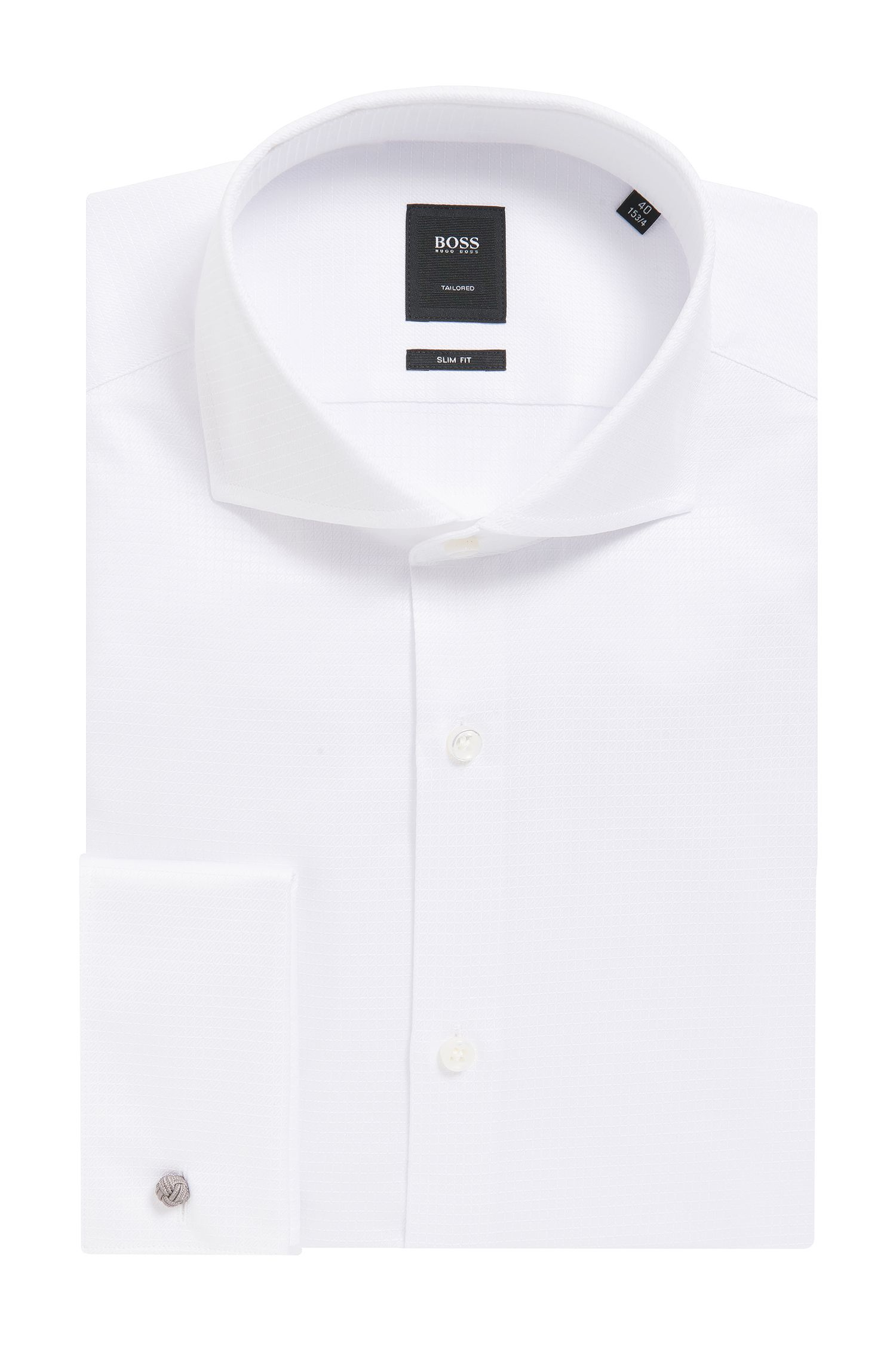 Tonal Check Cotton Dress Shirt, Slim Fit | T-Yacob
