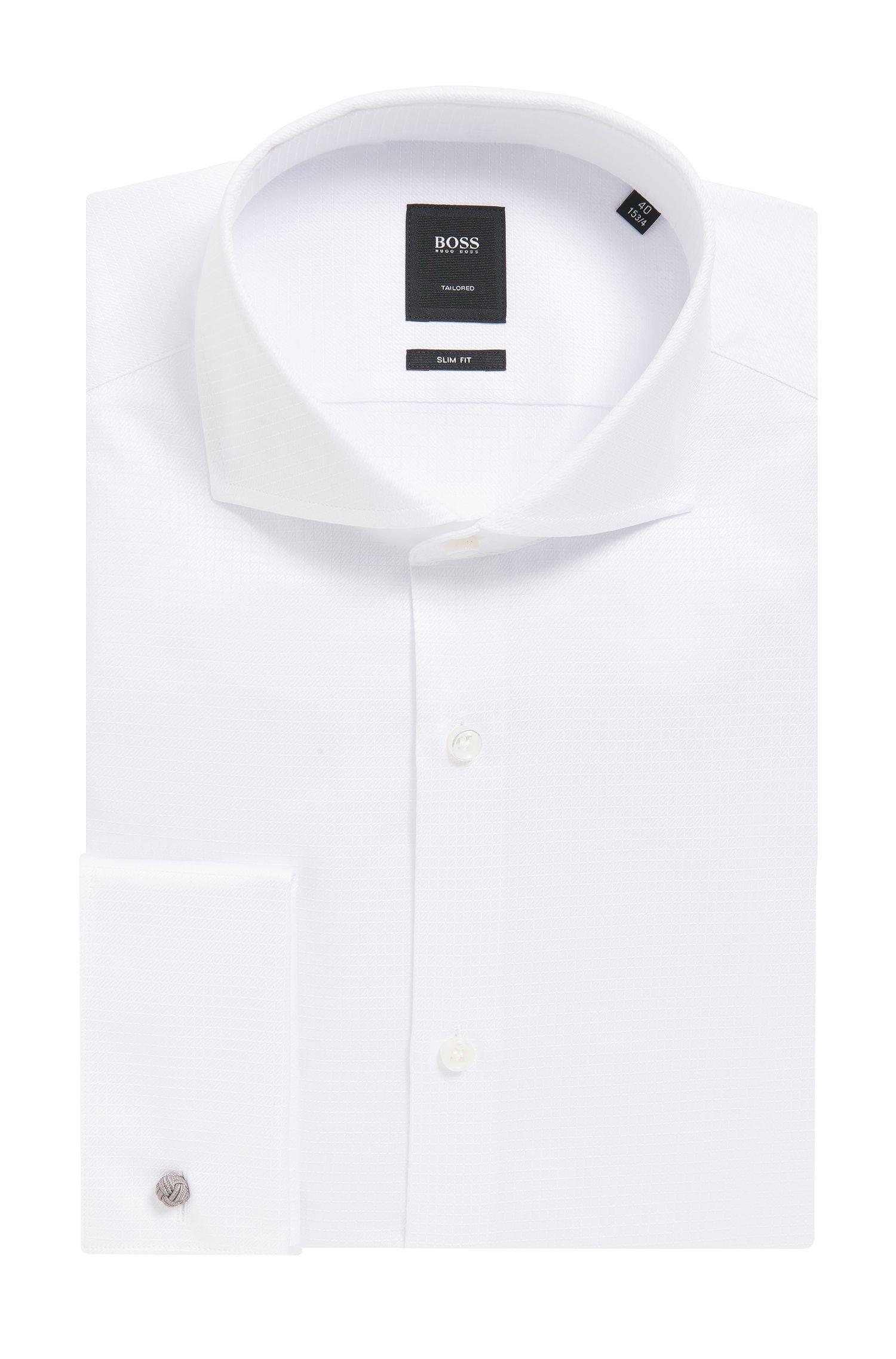 'T-Yacob' | Slim Fit, Tonal Check Cotton Dress Shirt