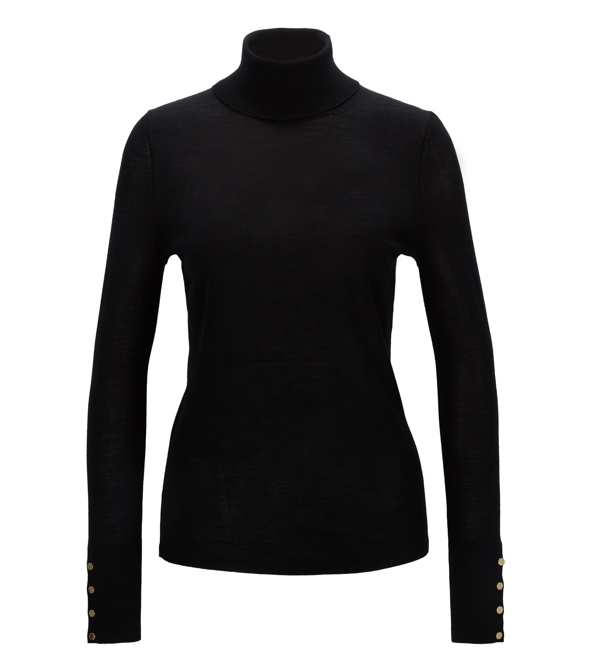 Virgin Wool Turtleneck Sweater | Farrella, Black