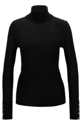 'Farrella' | Virgin Wool Turtleneck Sweater, Black