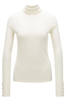 Virgin Wool Turtleneck Sweater | Farrella, Natural