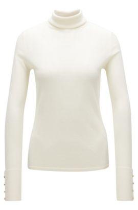 Virgin Wool Turtleneck Sweater | Farrella, Natural