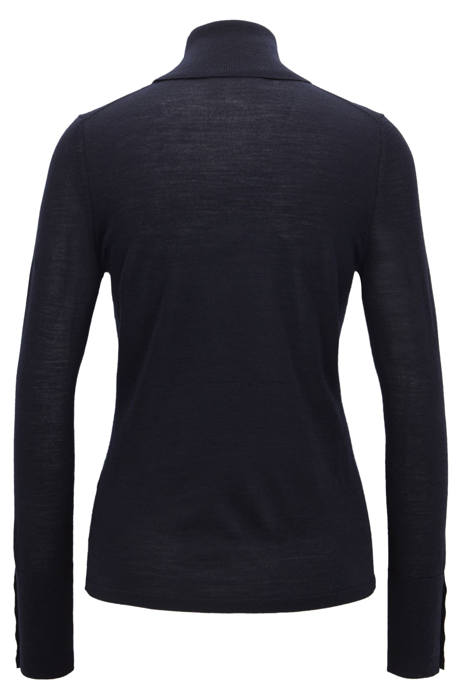 Virgin Wool Turtleneck Sweater | Farrella, Open Blue