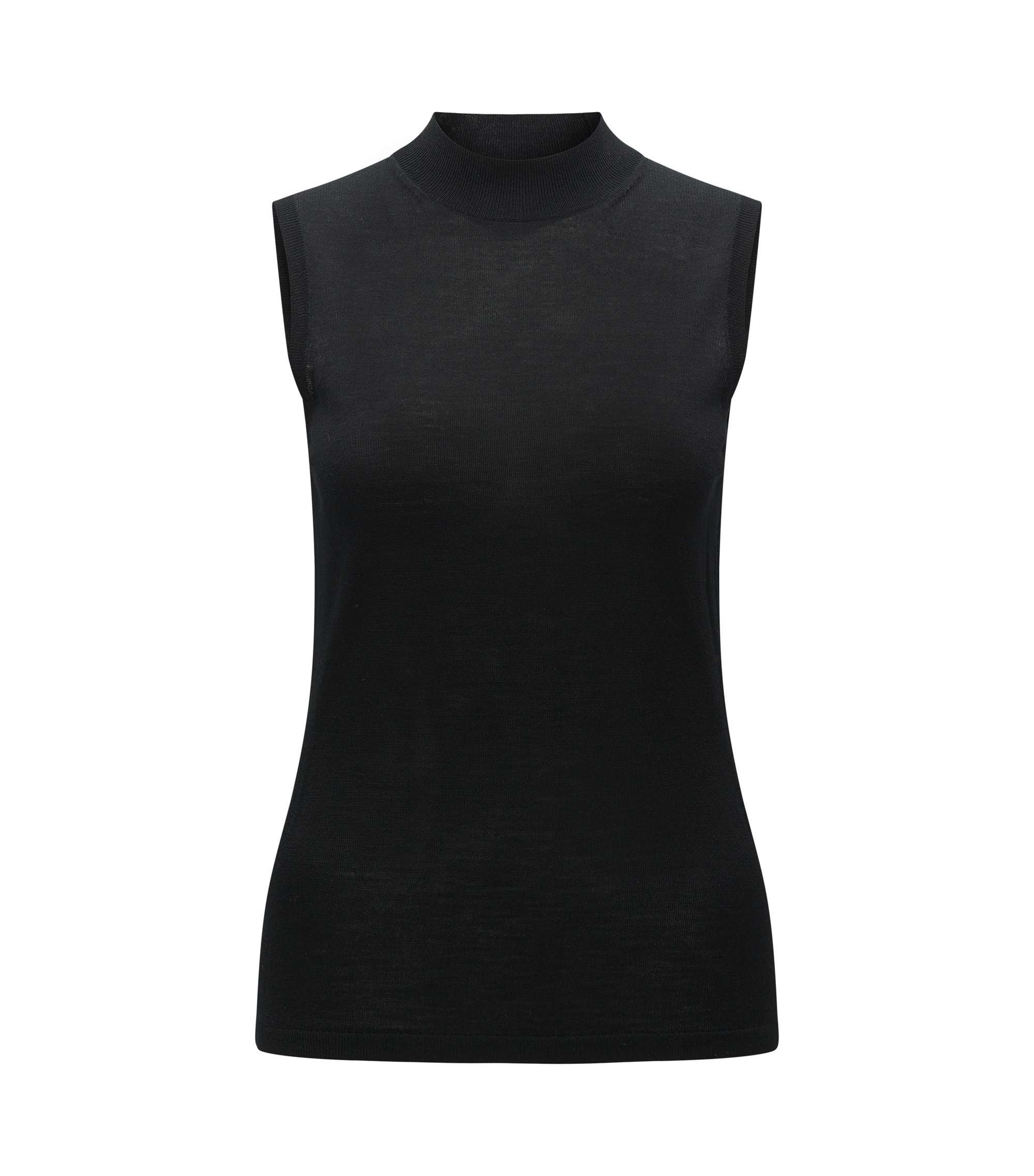 Virgin Wool Sleeveless Sweater Top | Foebe, Black