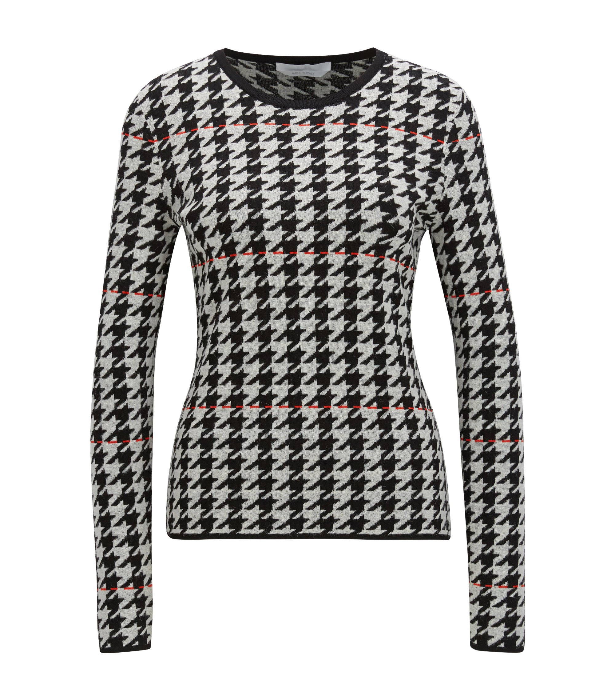Viscose Houndstooth Sweater | Fatma, Patterned