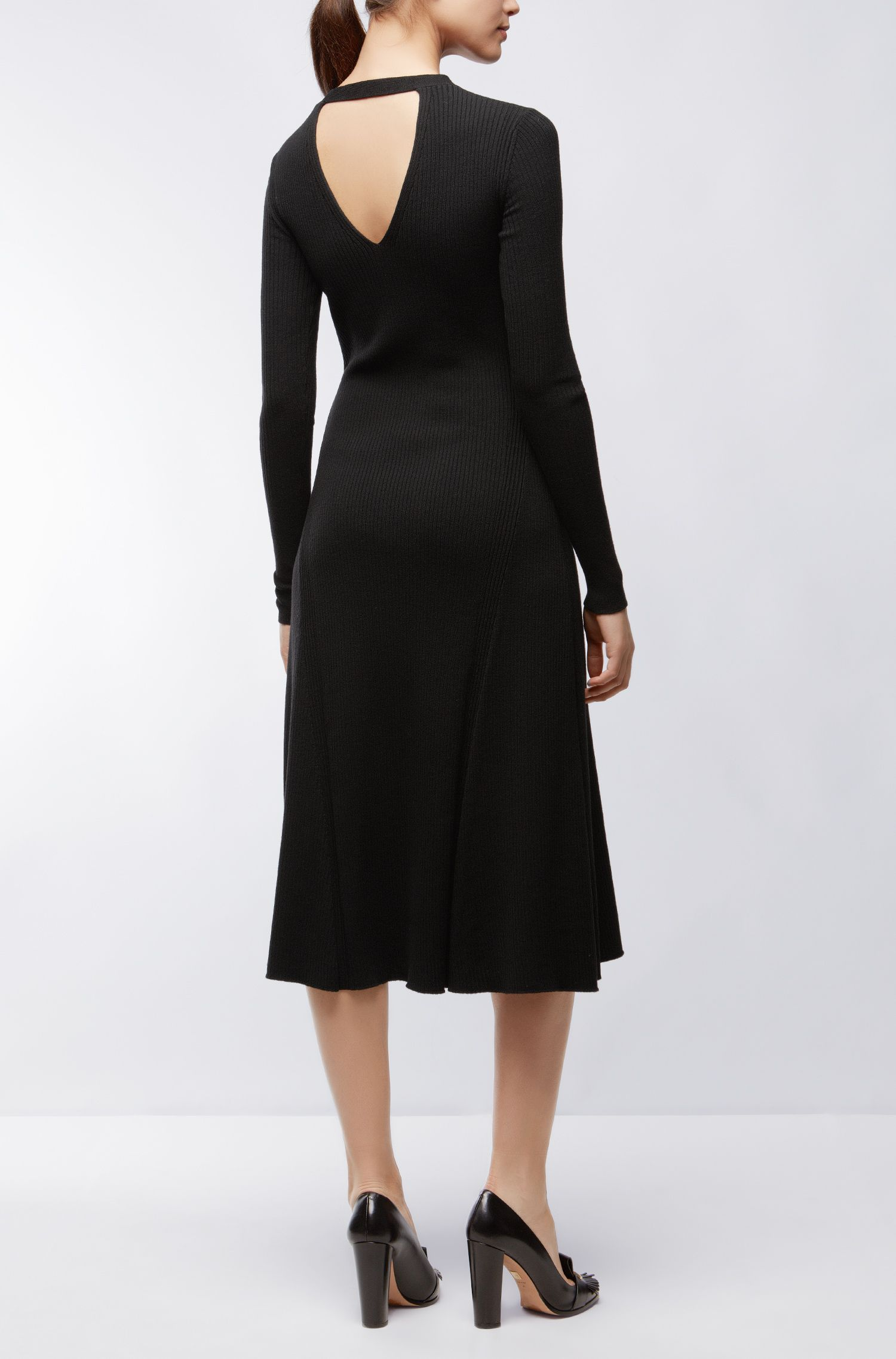 Ribbed Stretch Virgin Wool Dress | Faustine