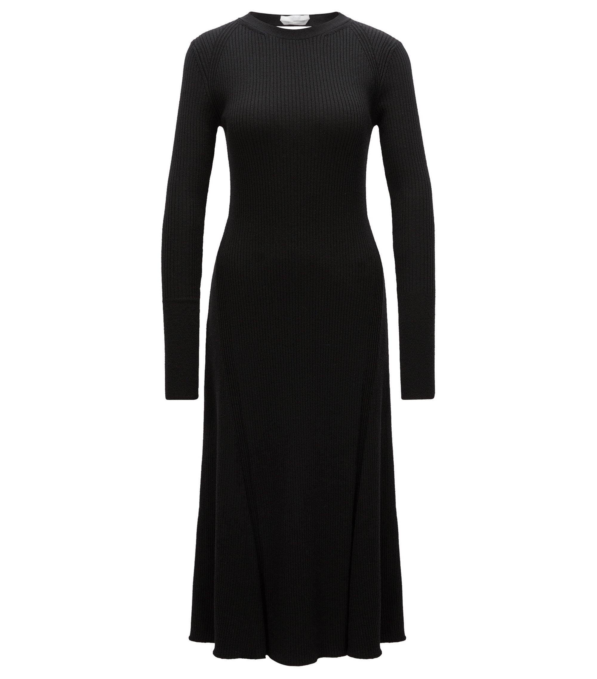 Ribbed Stretch Virgin Wool Dress | Faustine, Black