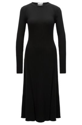 Ribbed Stretch Virgin Wool Dress | Faustine, Black
