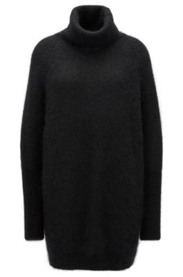 Stretch Mohair Oversized Sweater | Fianca, Black