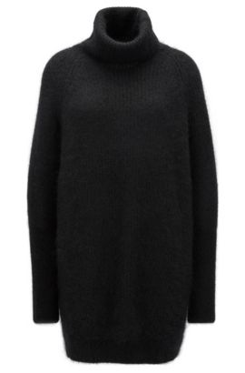 Stretch Mohair Oversized Sweater | Fianca, Black