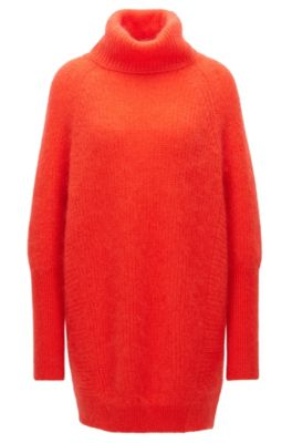 Stretch Mohair Oversized Sweater | Fianca, Red