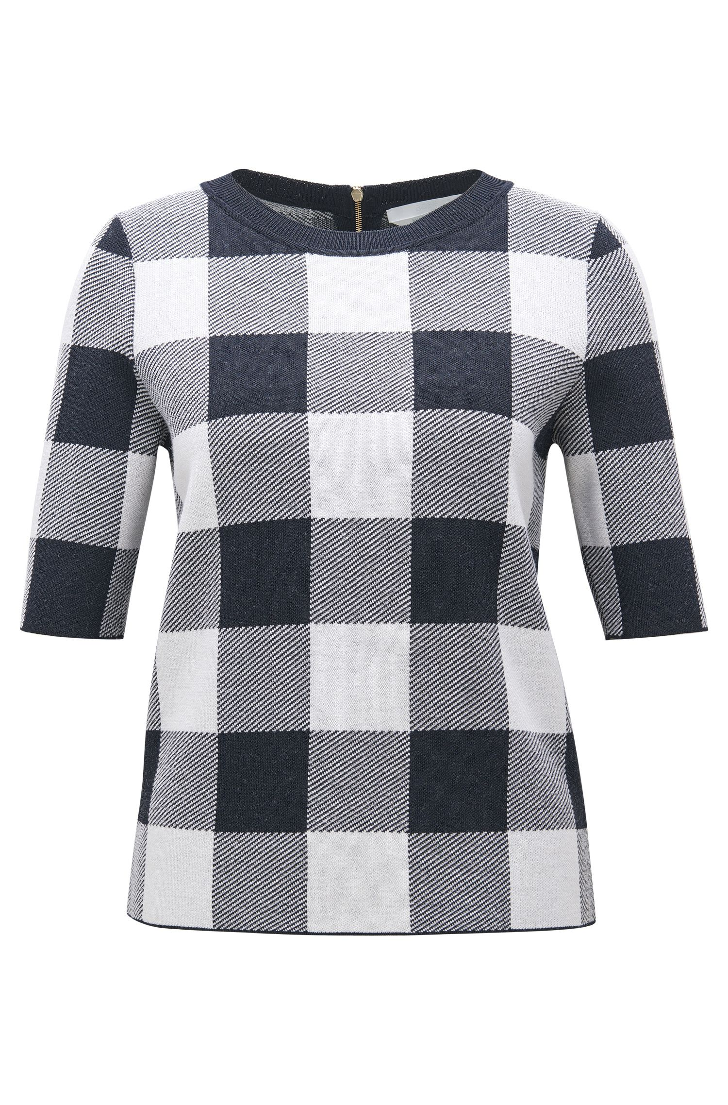 Gingham Wool Blend Knit Top | Floriza