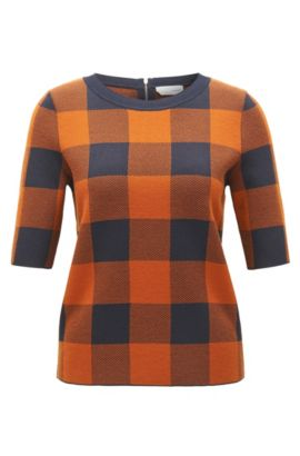 Gingham Wool Blend Knit Top | Floriza, Patterned