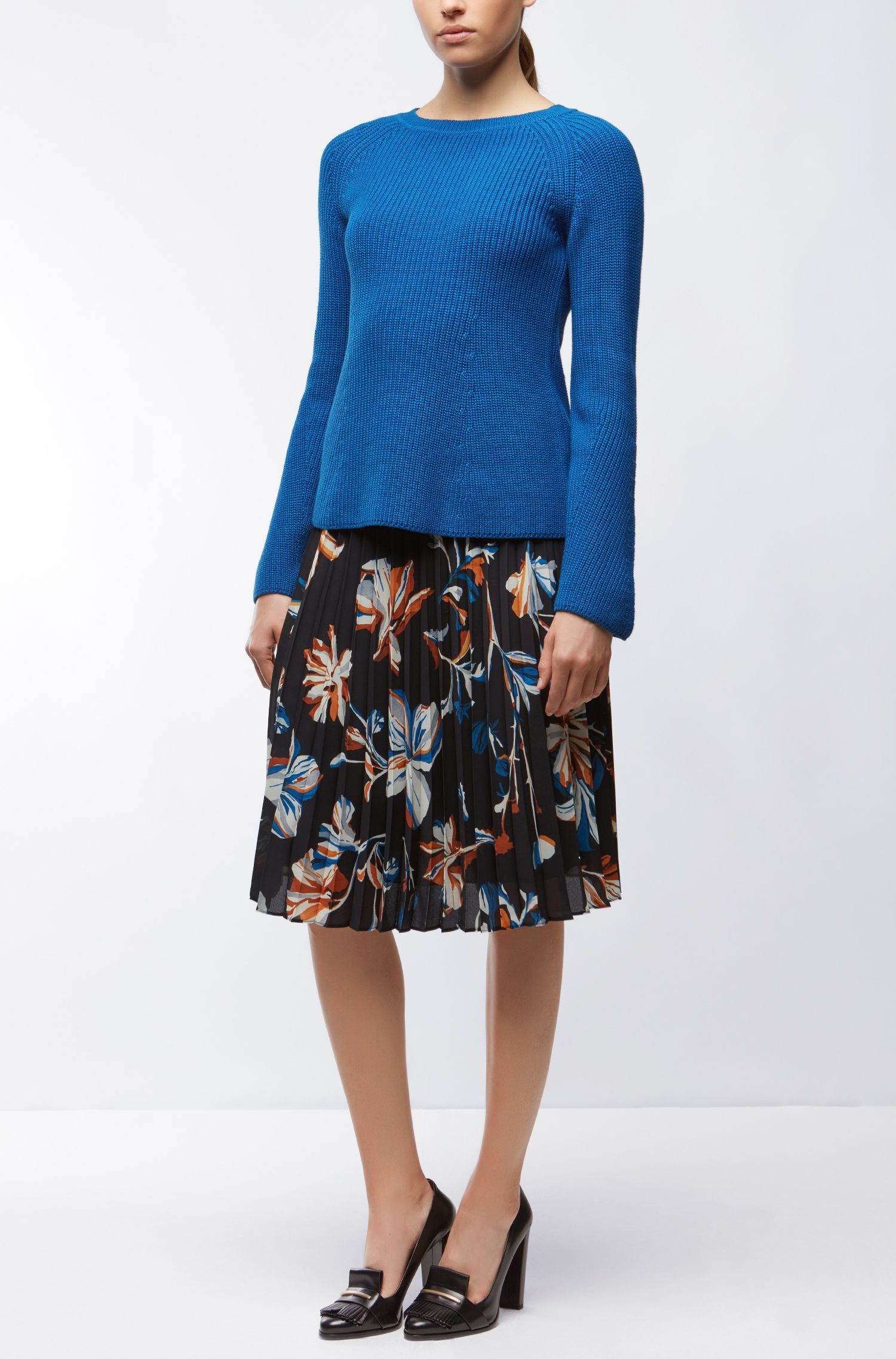 Cotton Blend Rib-Knit Sweater | Foya