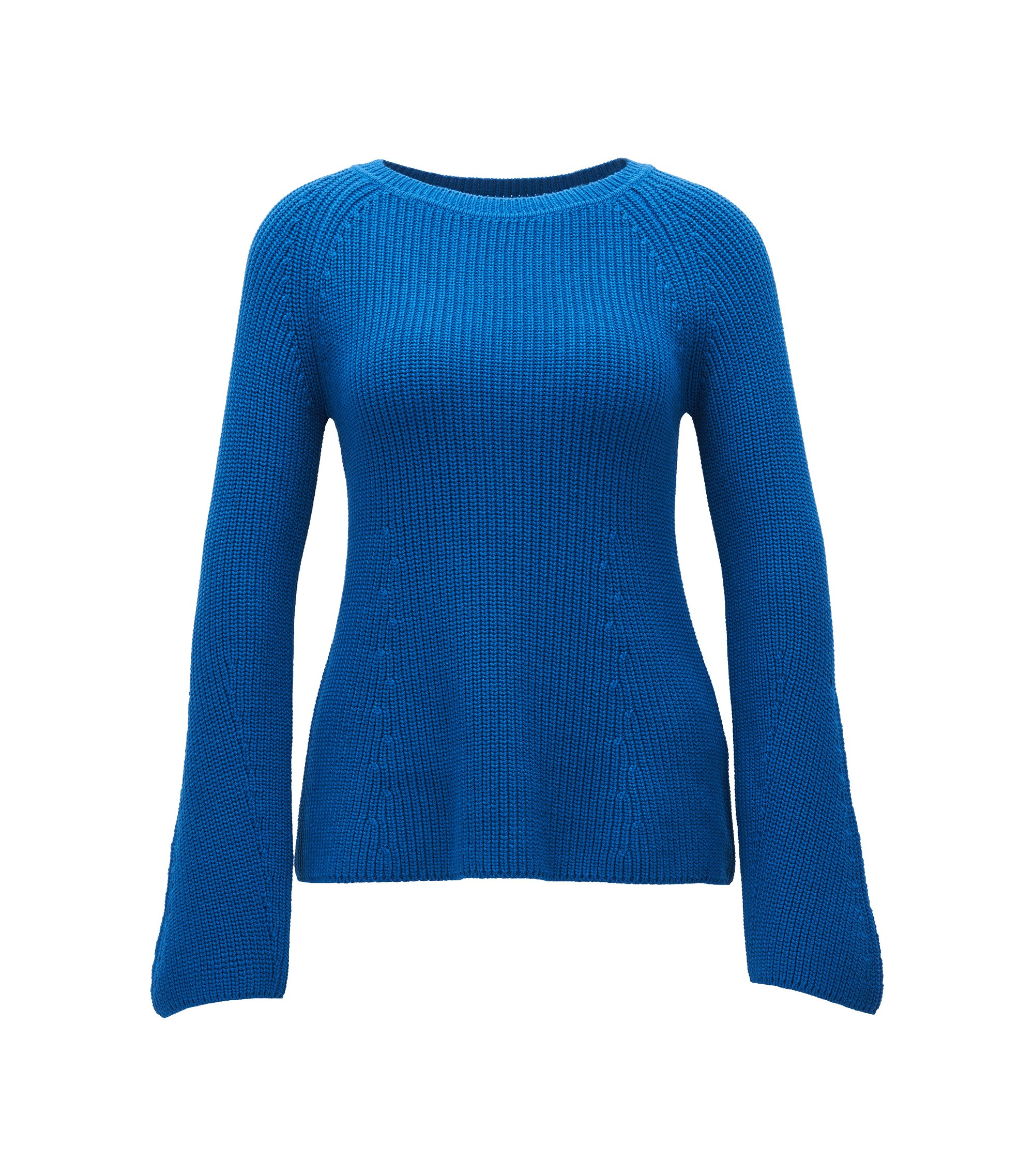 Cotton Blend Rib-Knit Sweater | Foya, Blue