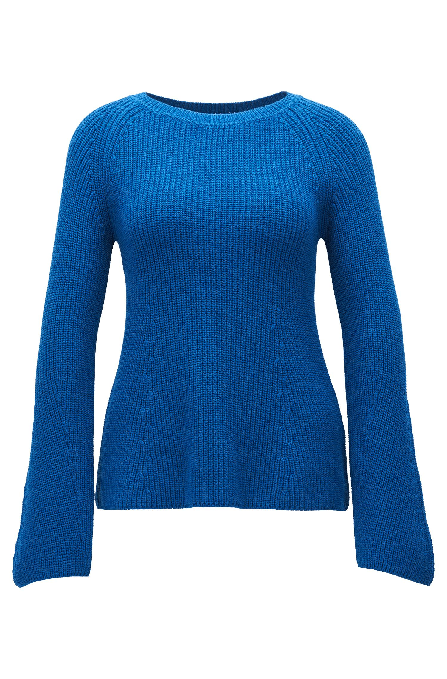 Cotton Blend Rib-Knit Sweater | Foya