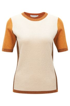 'Fifer' | Colorblocked Metallised Virgin Wool Blend Top, Patterned