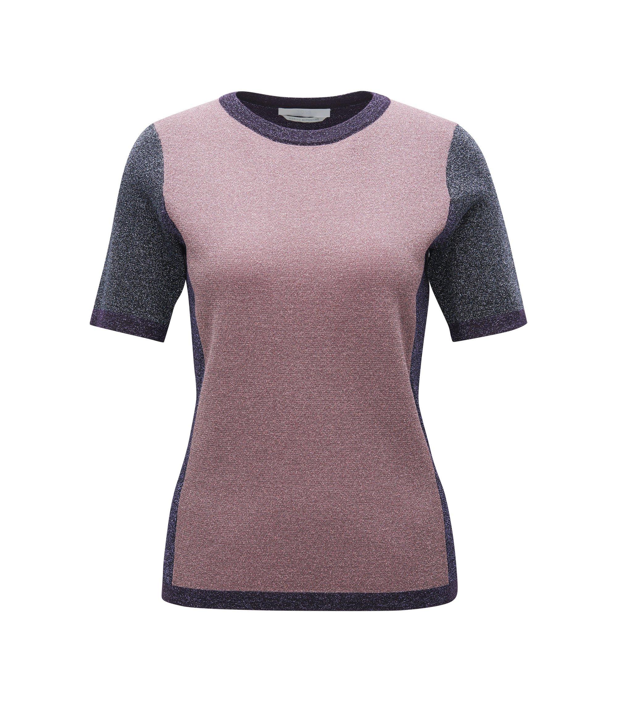 Metallised Virgin Wool Blend Top | Fifer, Patterned