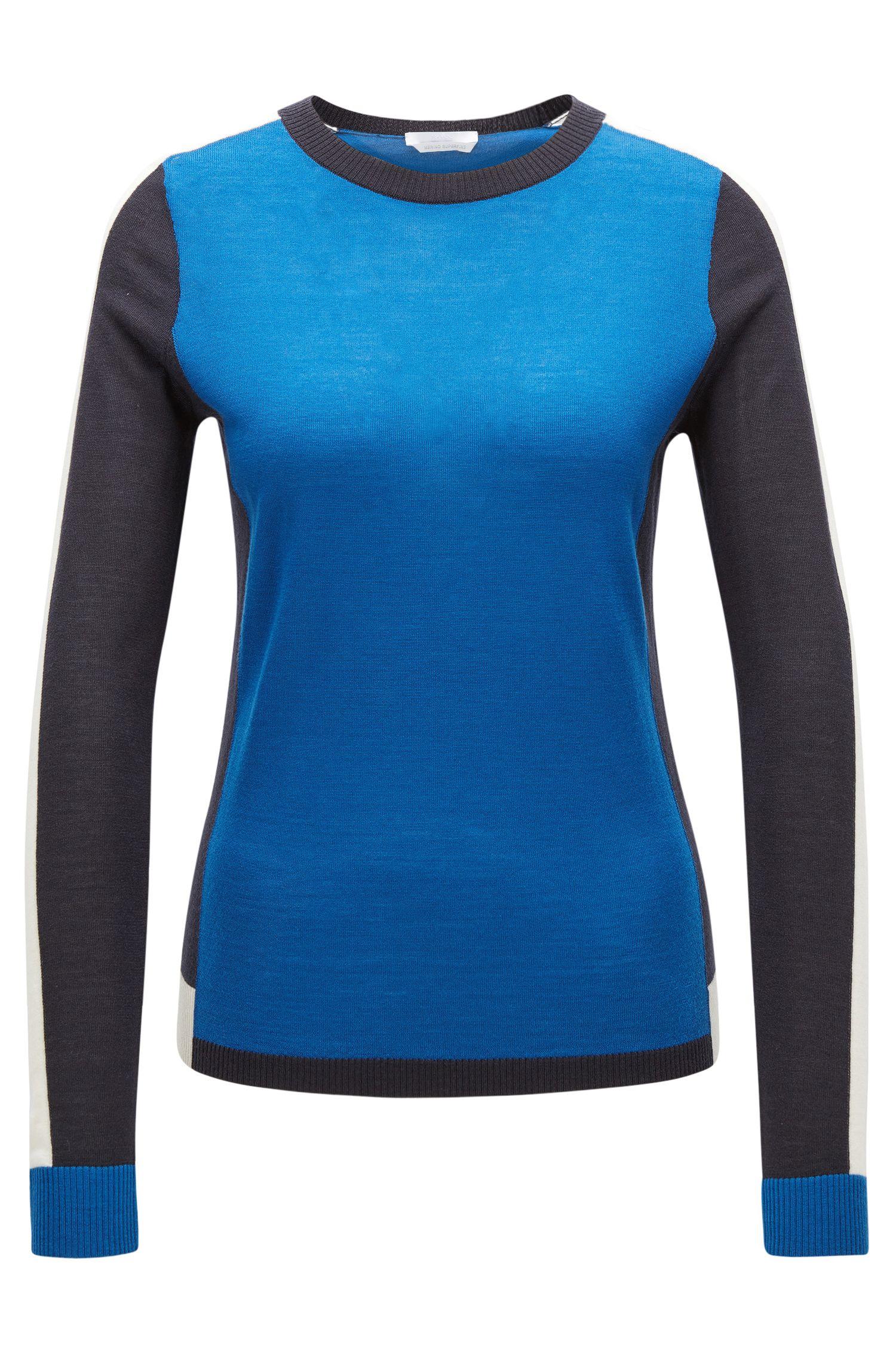 Colorblocked Virgin Wool Sweater | Ferda, Patterned