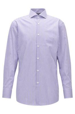 Striped Cotton Dress Shirt, Sharp Fit | Mark US, Purple