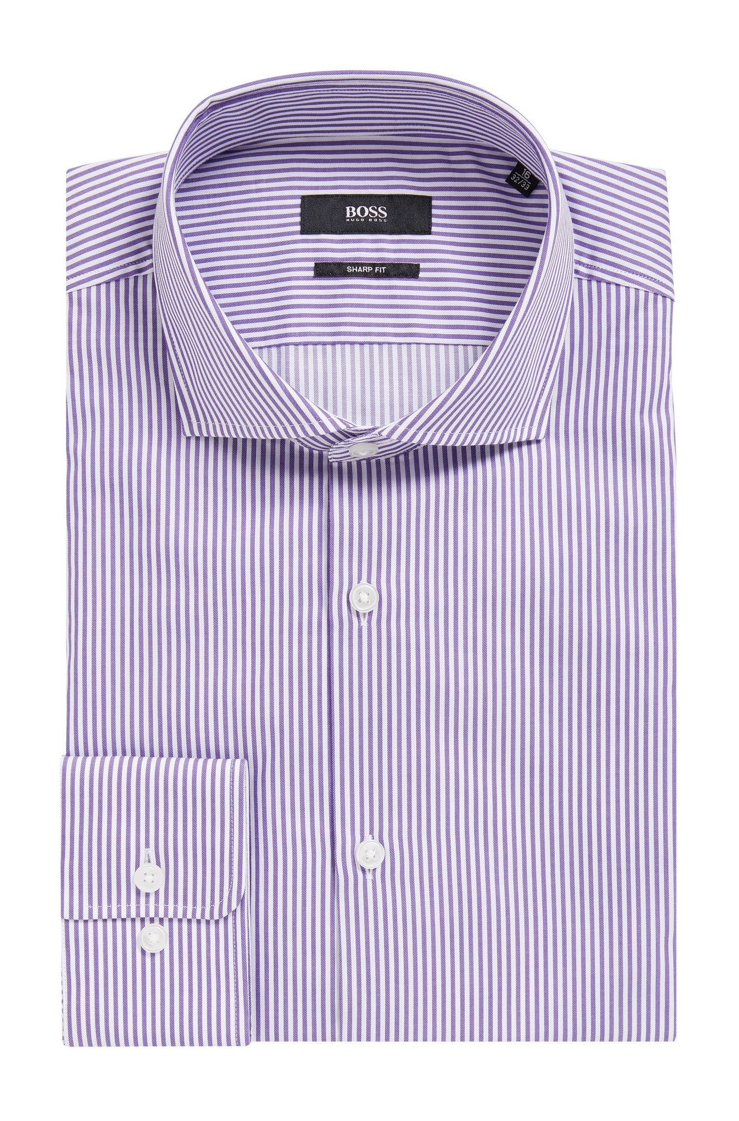 Striped Cotton Dress Shirt, Sharp Fit | Mark US, Purple