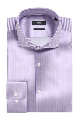 Striped Cotton Dress Shirt | Mark US, Purple