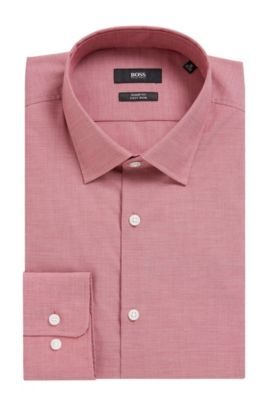 'Marley US' | Sharp Fit, Textured Cotton Dress Shirt, Red