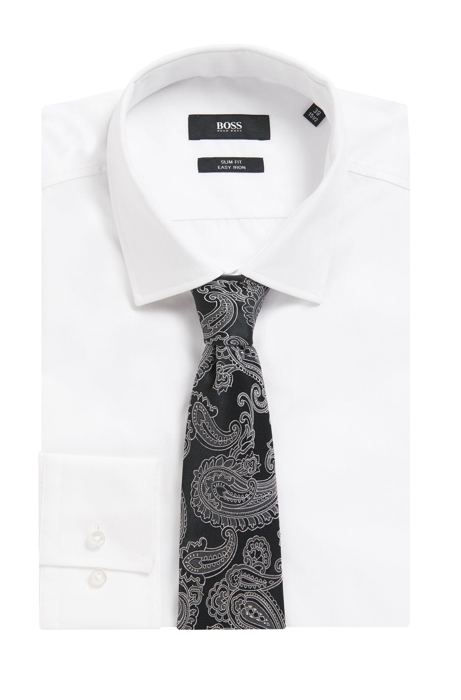 Paisley Italian Silk Tie , Open Grey
