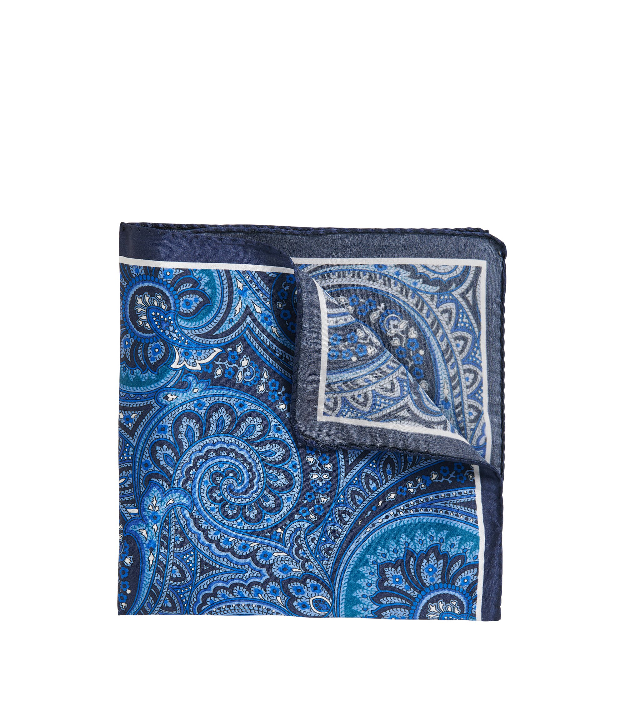 Patterned Italian Silk Pocket Square, Turquoise