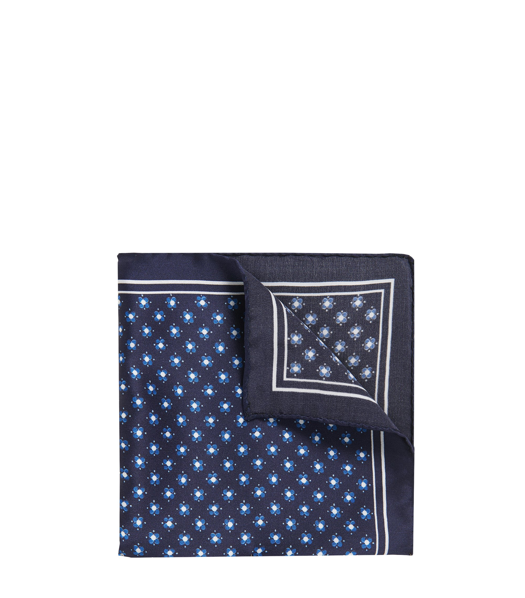 Patterned Italian Silk Pocket Square, Open Blue
