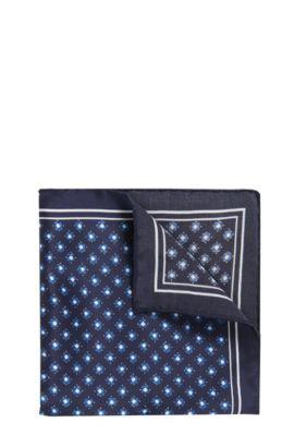 Patterned Italian Silk Pocket Square, Open Blue