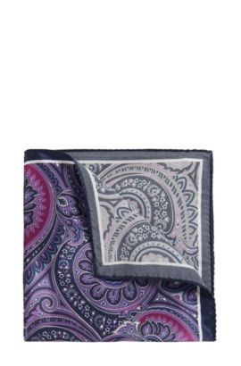 Patterned Italian Silk Pocket Square, Purple