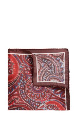 Patterned Italian Silk Pocket Square, Dark Red