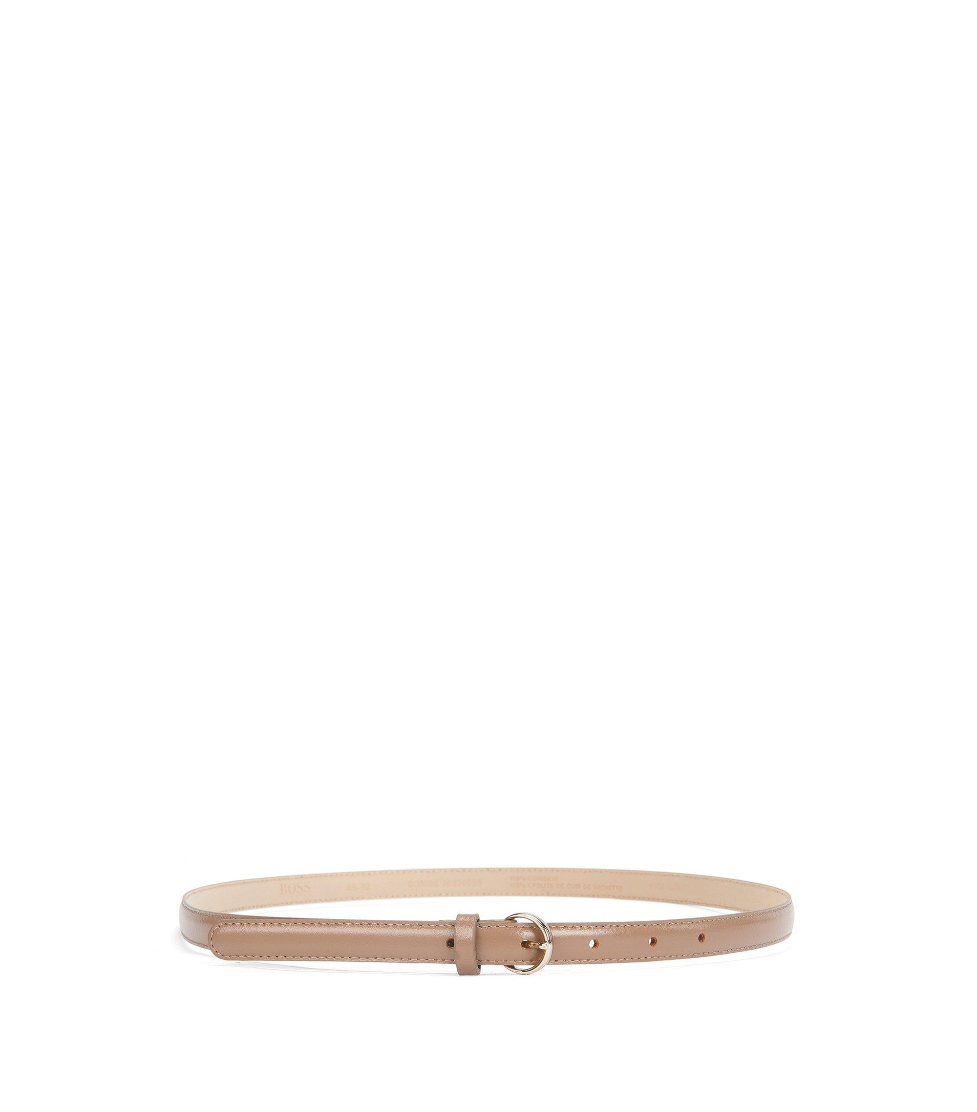 Skinny Leather Belt   Bonnie, Beige