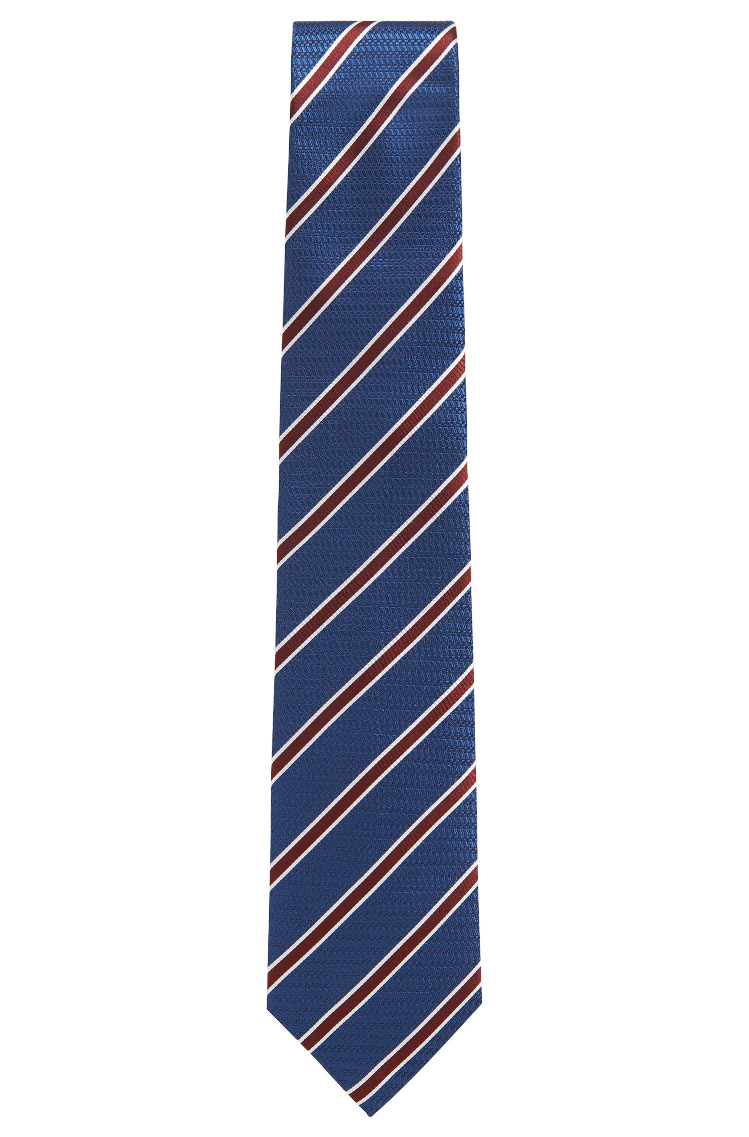 BOSS Tailored Striped Italian Silk Tie, Open Blue