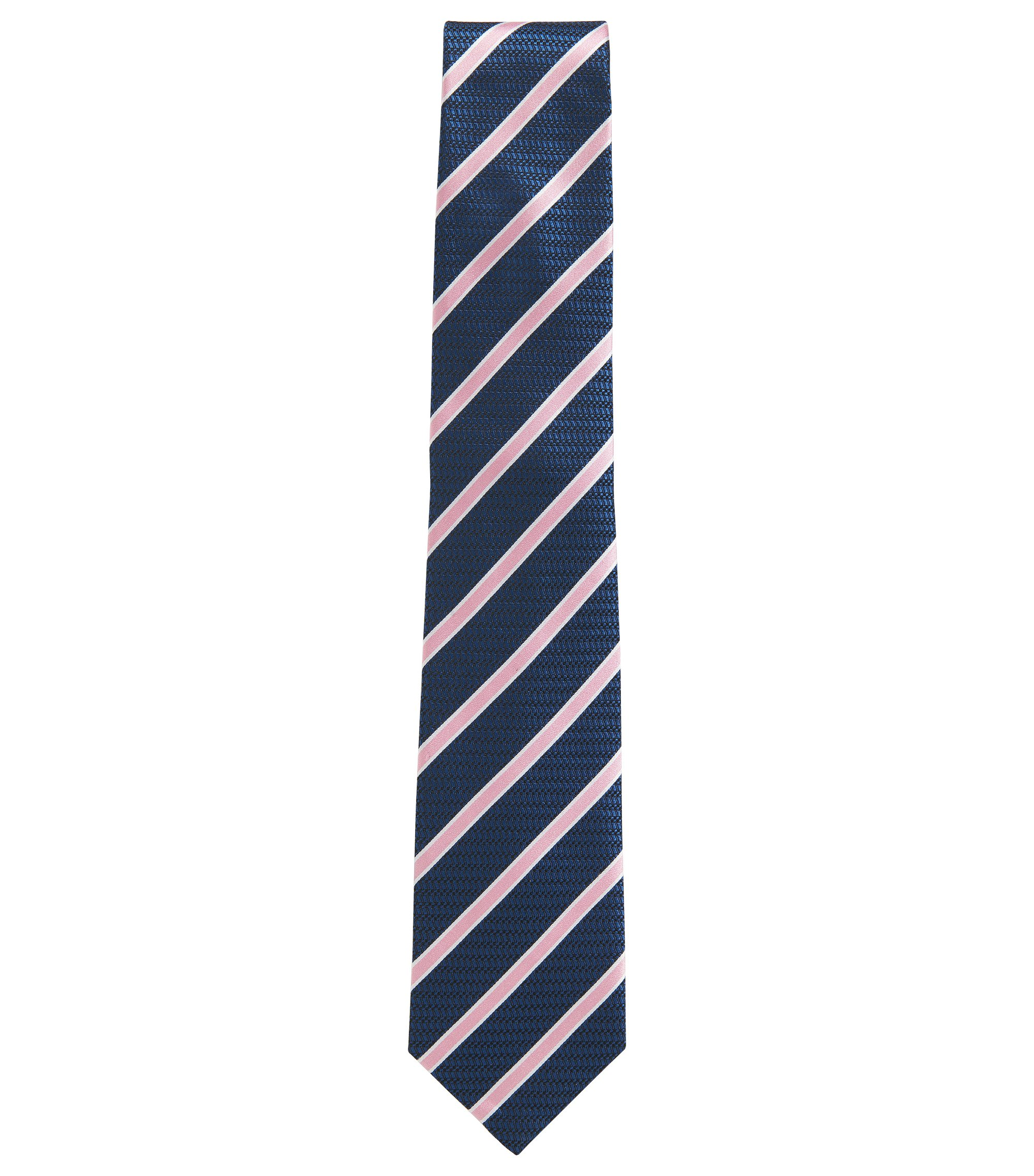 BOSS Tailored Striped Italian Silk Tie, Open Blue