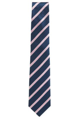 Striped Silk Tie, Regular | T-Tie 8 cm, Open Blue