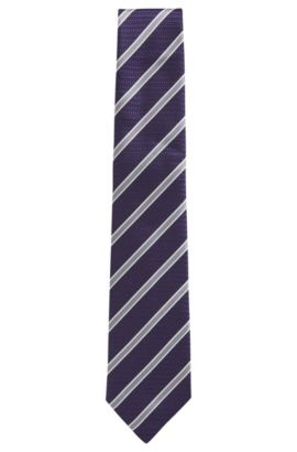 BOSS Tailored Striped Italian Silk Tie, Dark Purple