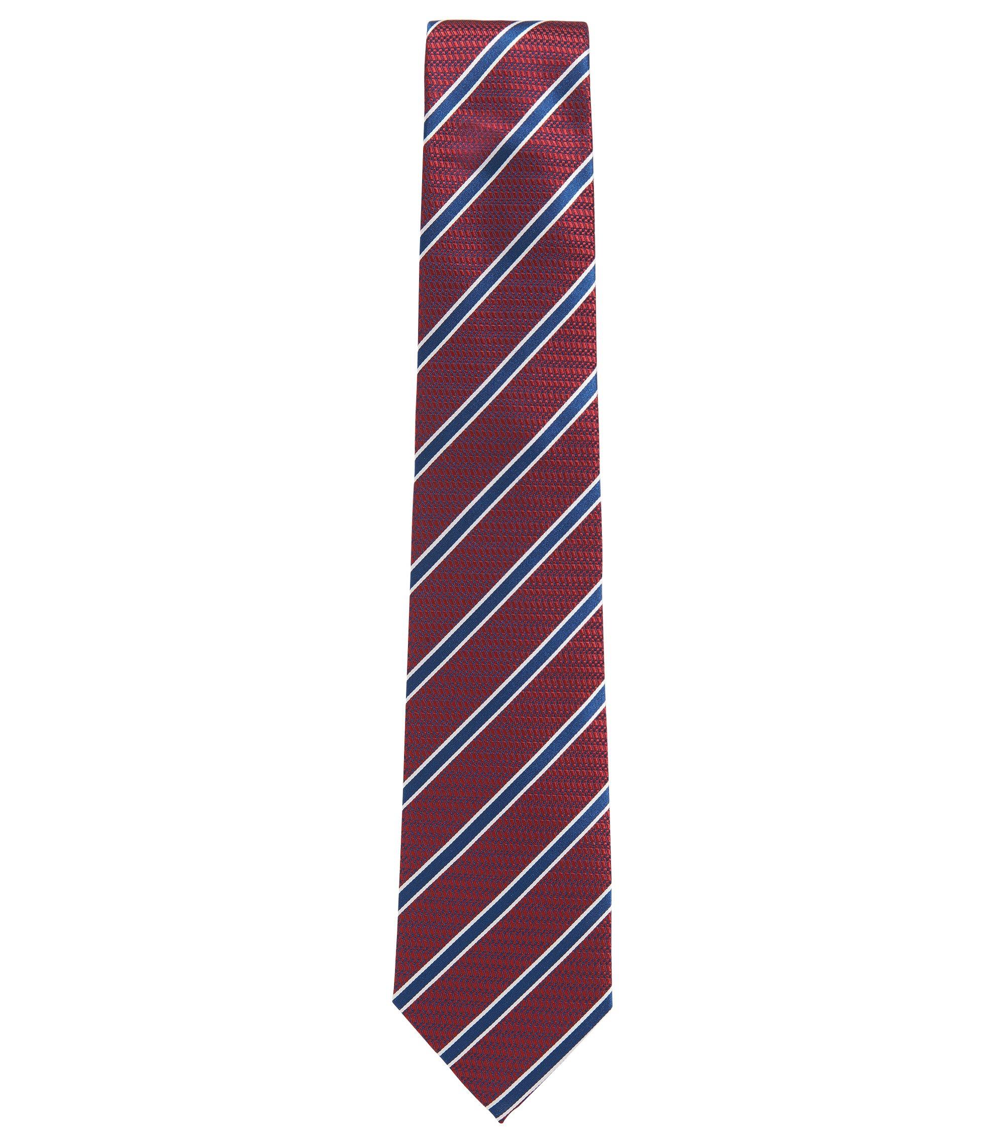 BOSS Tailored Striped Italian Silk Tie, Red