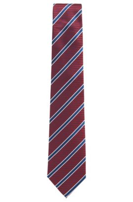 BOSS Tailored Striped Italian Silk Tie, Red
