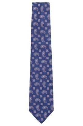 BOSS Tailored Paisley Italian Silk Tie, Turquoise