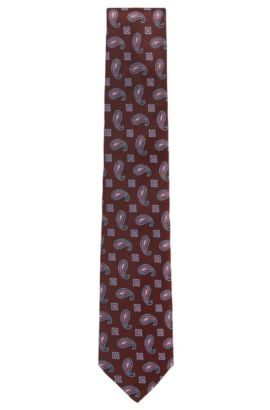 BOSS Tailored Paisley Italian Silk Tie, Red