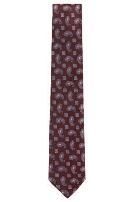 'T-Tie 8 cm' | Regular, Paisley Silk Tie, Red