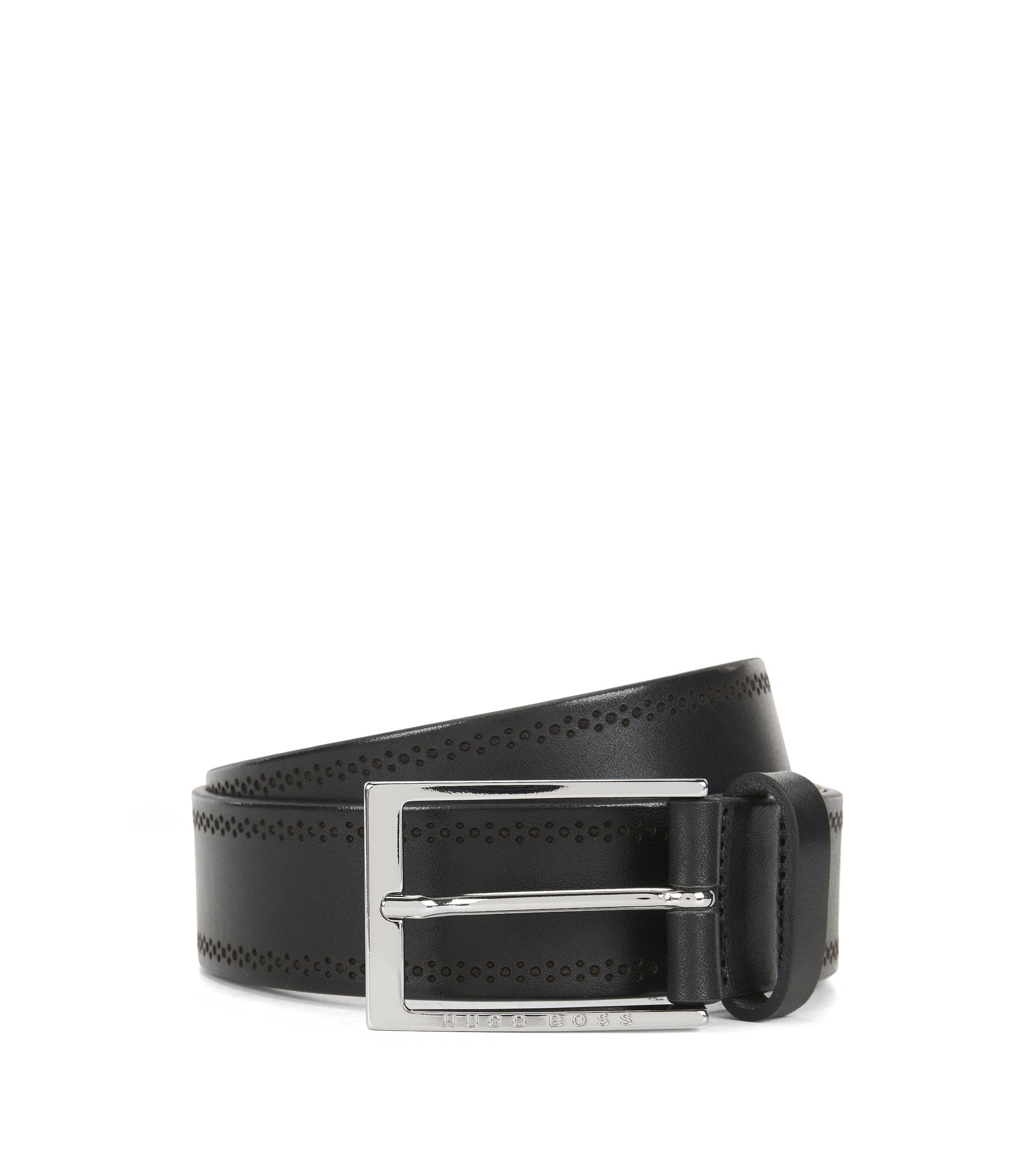Brogue Leather Belt | Cludo Sz Ltbg, Black