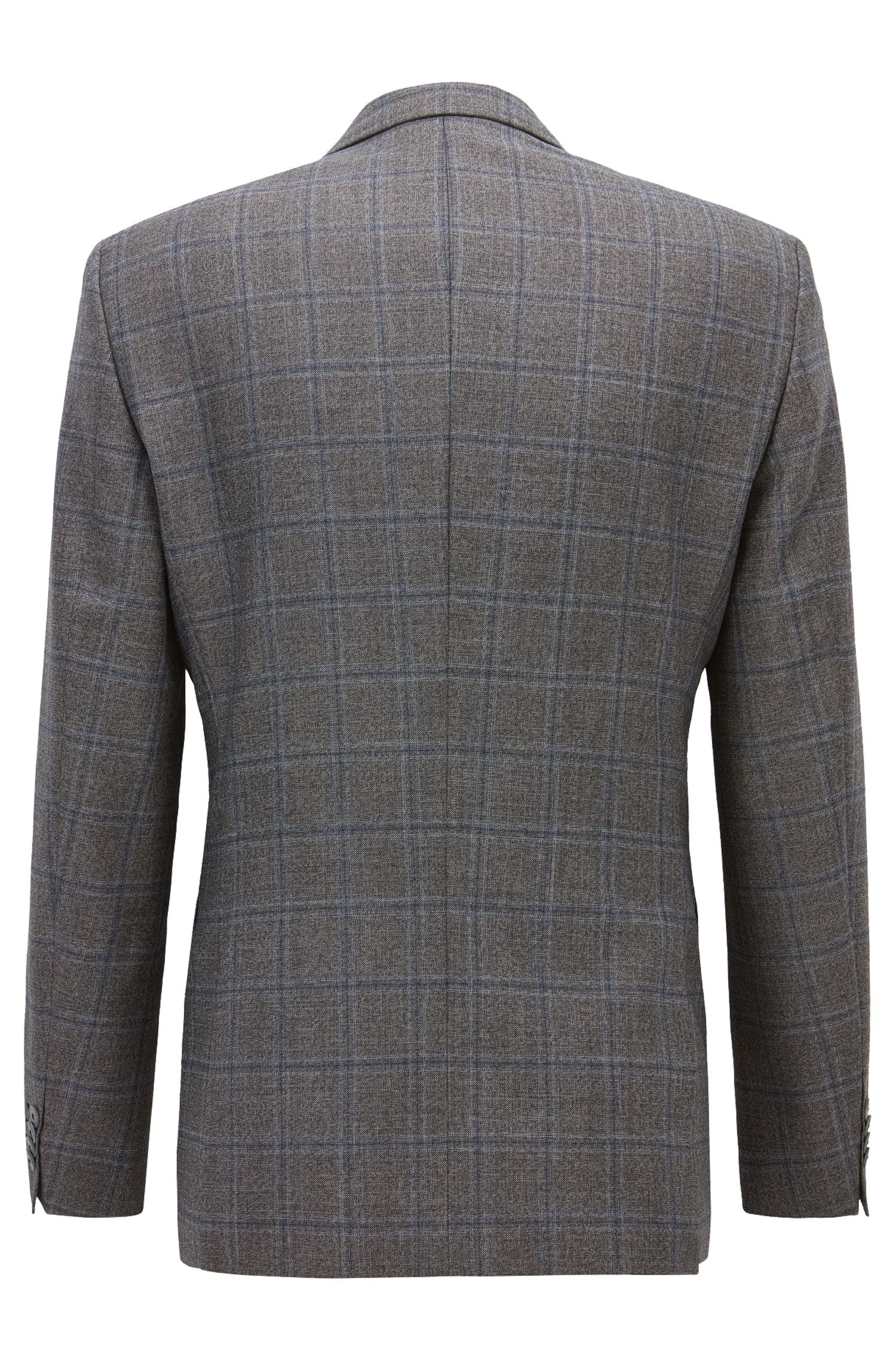 Windowpane Virgin Wool Sport Coat, Slim Fit | Hutsons, Open Grey
