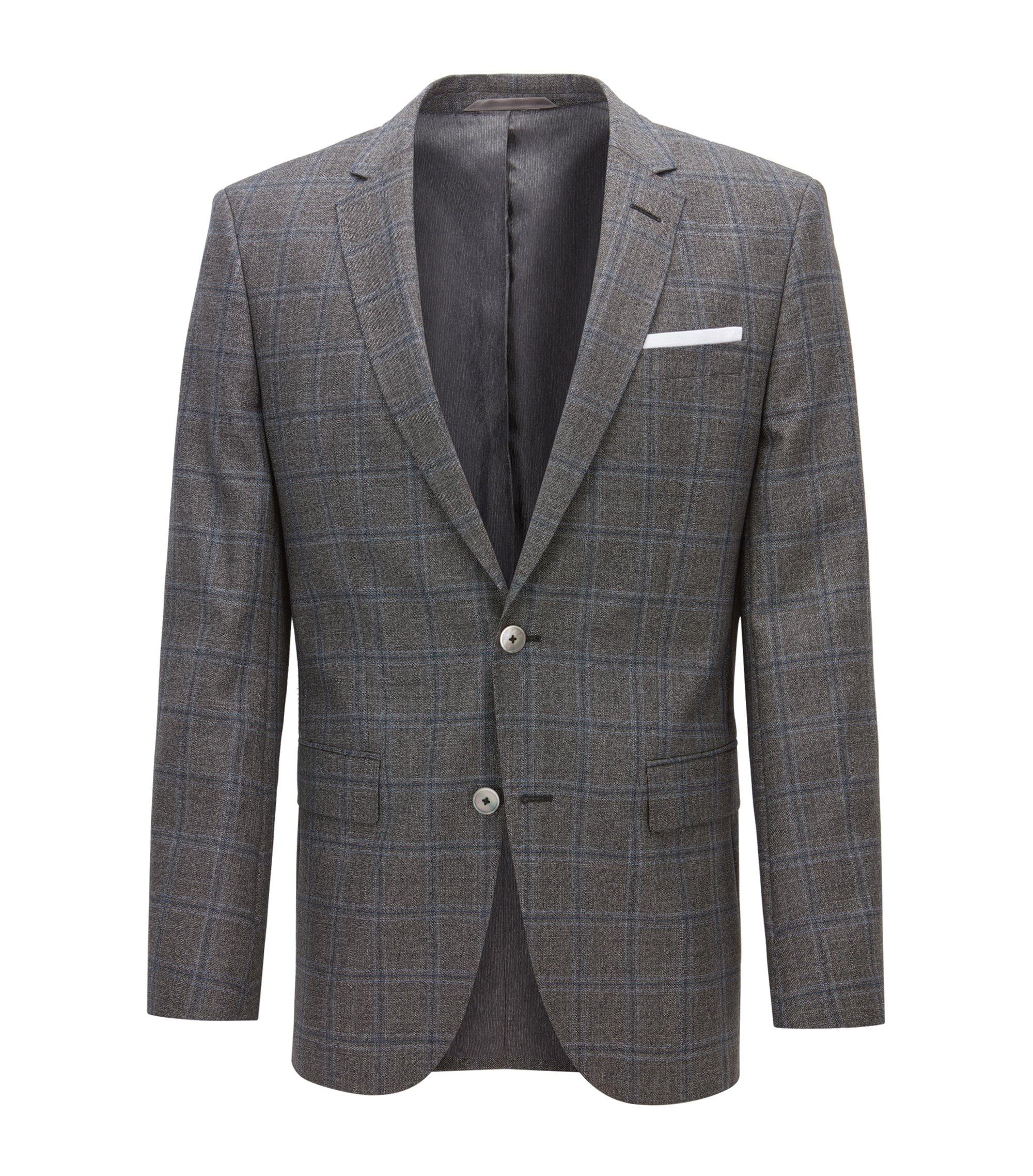 Windowpane Virgin Wool Sport Coat, Slim Fit | Hutsons, Open Grey